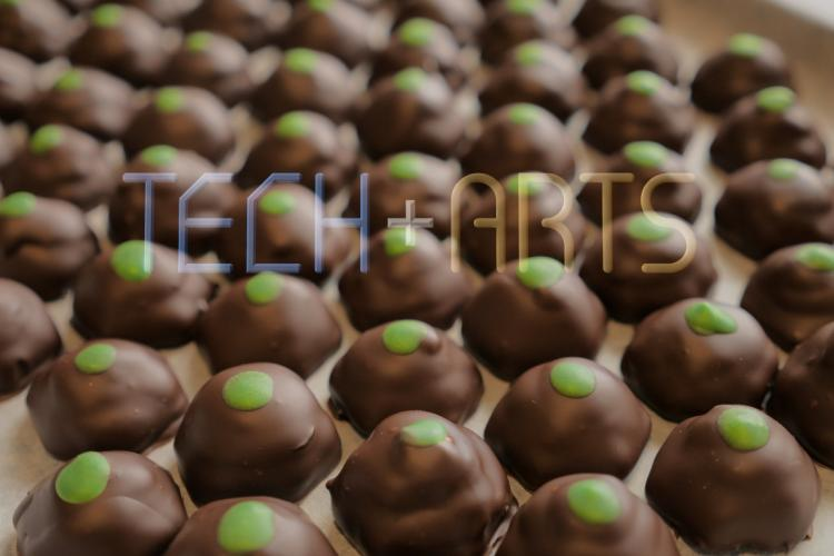 Finished chocolates with green dot on top
